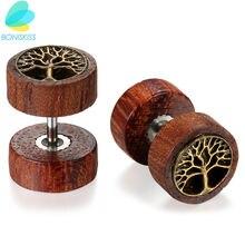 Boniskiss женские деревянные серьги гвоздики boucle d'oreille