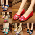 29 Cores Da Moda Sapatos Velhos Pequim Mary Jane Calcanhar Plana das Mulheres Denim Flats com Bordados Suaves Únicos Sapatos Casuais Plus Size 41