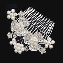 2017 New Romantic Silver Color Hair Combs Fashion Women Girl Rhinestone Simulated Pearl Wedding Bridal Hair Accessories Jewelry
