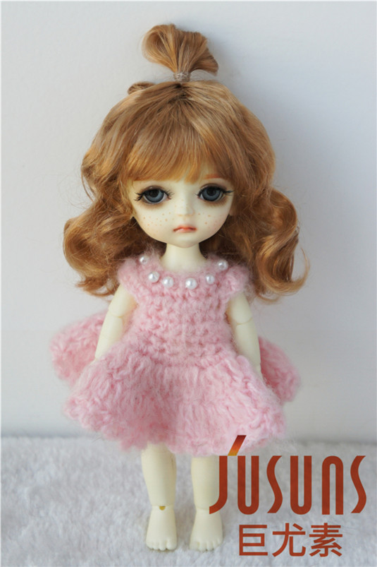 JD375 1/8 Lovely Up Style Wave Synthetic Mohair BJD Doll Wigs 5-6 inch High Quality Doll Accessories on Selling Online jd002 lati yellow doll wig 1 8 5 6inch synthetic mohair bjd wigs fountain lovely tiny doll wigs