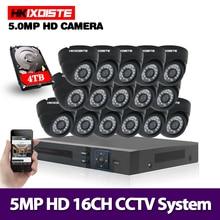 Система видеонаблюдения 5 МП Ultra HD 16CH DVR H.265 + CCTV Camera 16PCS 5MP CCTV System IR indoor Night Vision комплект видеонаблюдения