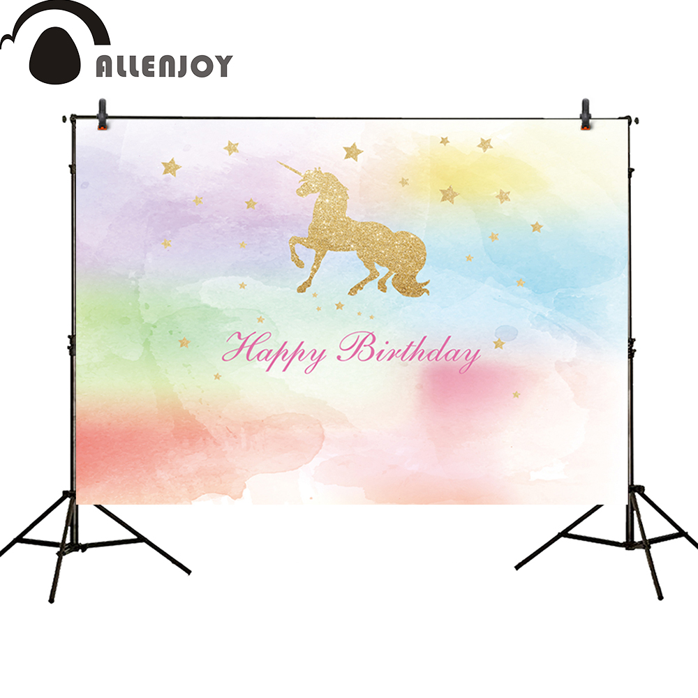 Allenjoy photo backdrops watercolor colorful unicorn kids Birthday party banner Glitter glamour Sparkle stars photocall