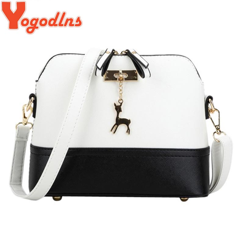 Yogodlns Vintage Nubuck Leather Women Bags Fashion Small Shell Bag With Deer Toy Women Shoulder Bag Winter Casual Crossbody Bag