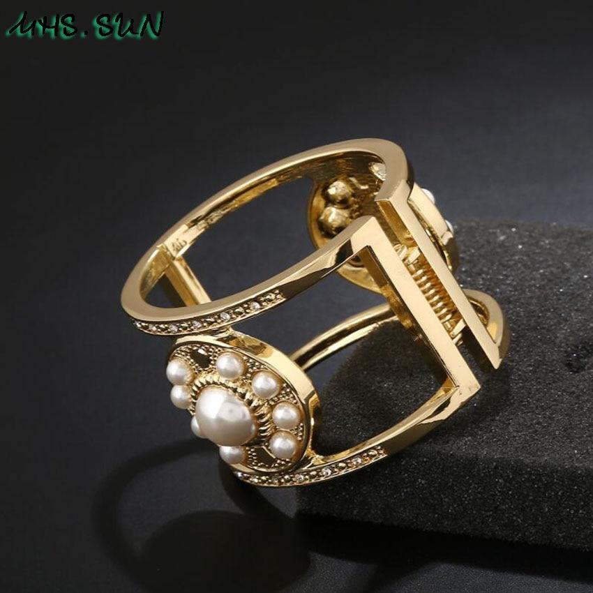 Pearl Crystal Exaggerated Bangles  3