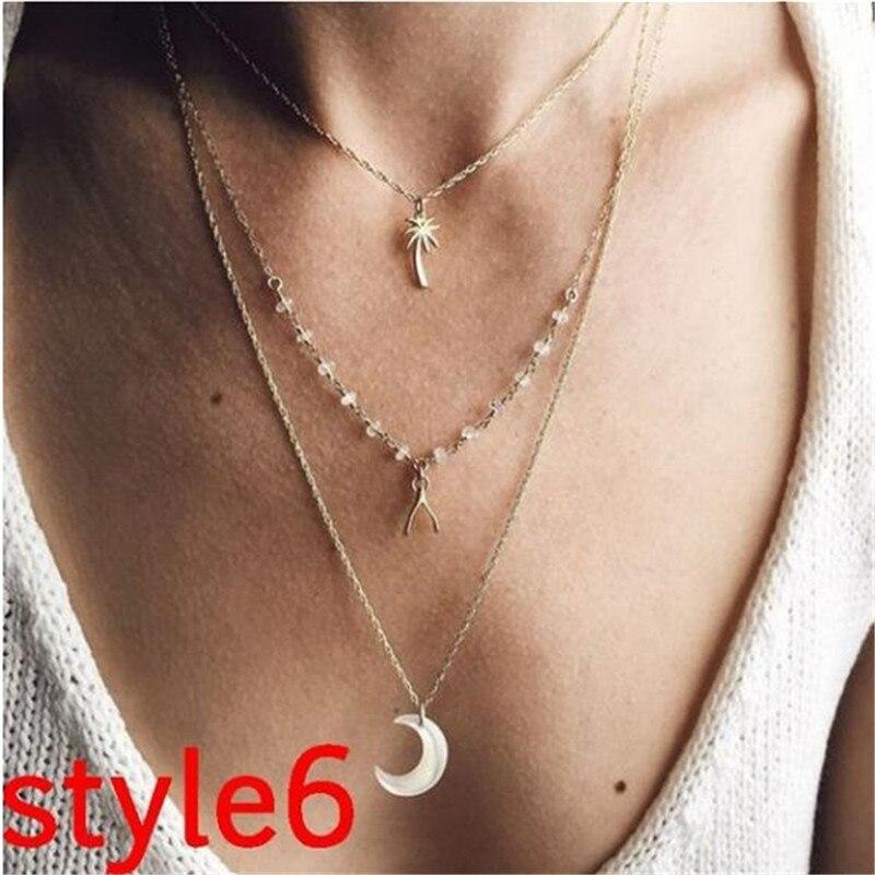 Многослойный Кристалл лунные ожерелья и кулоны для женщин винтажное очаровательное Золотое колье ожерелье богемное ювелирное изделие - Окраска металла: FCS378