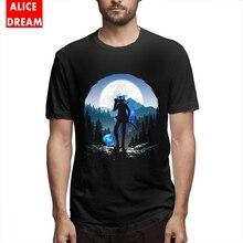 Rin Exorcist Okumura T shirt  Blue Tail With Kuro T-shirt Men Streetwear Homme Tee Shirt O-neck Alicedream