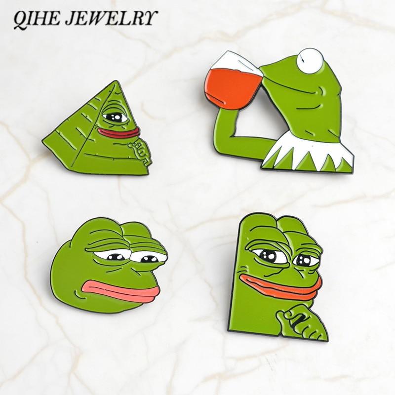 Arts,crafts & Sewing Pepe Sad Frog Enamel Lapel Pin Feels Bad Man Brooch Pin Feels Good Man Badges Pop Funny Pins Jewelry For Clothing