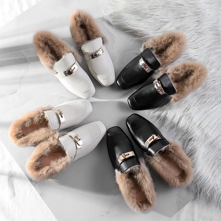 Avec Véritable 2018 Pompes Décoration Lapin Femmes Paresseux En Mode La De Chaussures Femelle Nouvelle Fourrure Cuir Tendance Talons Chaud Métal q8wq1z