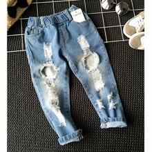 11232d57b Boys Girls Hole Jeans Pants 1-6yrs Kids Trousers Autumn Fashion Designer  Brand Children Denim