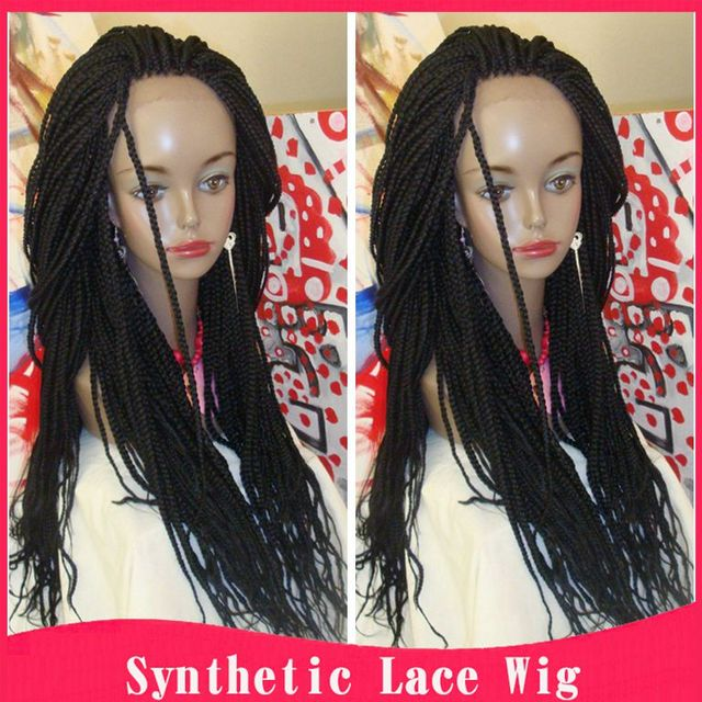 Braided Lace Front Wigs Black Long Synthetic Wigs For Black Women Best  Thick Full Hand Braided 17a67e6c03