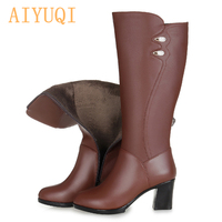 Woman boots winter 2019. women s genuine leather boots, high quality long barreled warm motorcycle boots .women free shipping