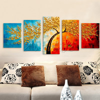 5 Pieces Panel Wall Art Palette Knife Hand Painted Flower Oil painting On Canvas Wall Pictures Painting For Living Room blossom
