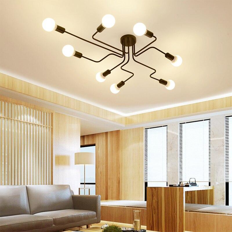 철 펜 던 트 조명 led 산업 램프 현대 거미 펜 던 트 램프 블랙 로프트 hanglamp industrieel 거실 luminaire suspendu