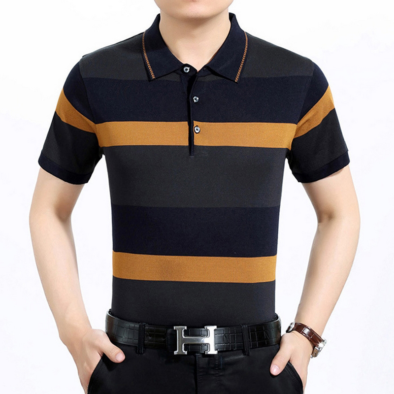 Top brand 2017 Men's polo shirt fasion striped business men clothing short sleeve casual slim Camisa homme Plus size M-3XL Tops