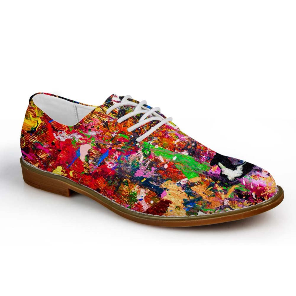 Noisydesigns Teenagers Casual Oxfords Shoes Hand Painted Oil Painting Print Men Leather PU Business Dress Shoe Lace Loafers Boys