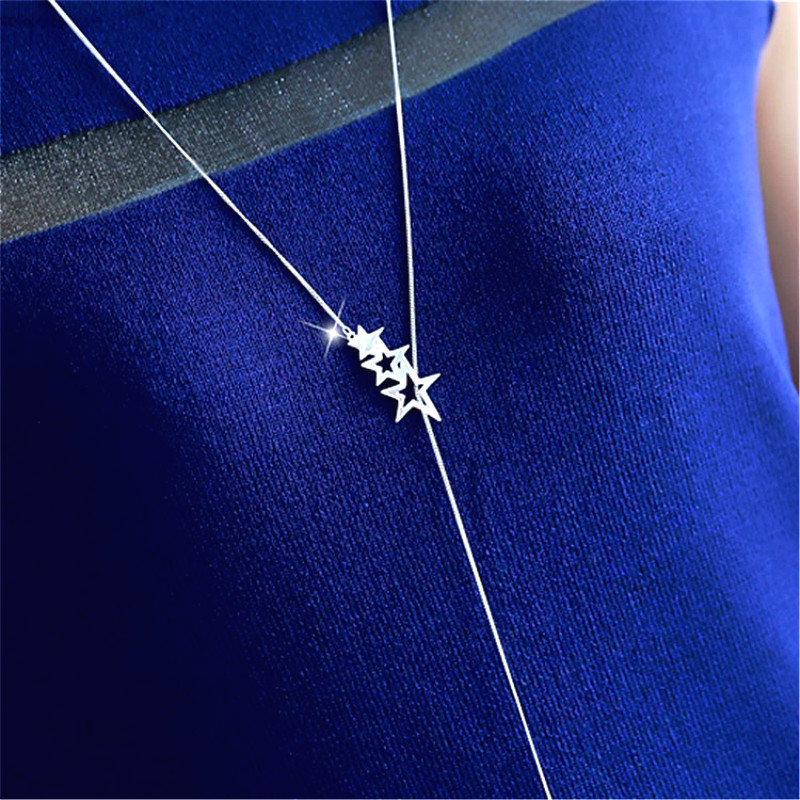Hollow Out <font><b>Star</b></font> Long Necklace Women Bijoux Simple Sweater Necklaces & Pendants New Fashion Jewelry Cute Gift