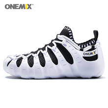 ONEMIX Men Black White Casual Shoes Women Running Lightweight Multifunction Sneakers Comfortable Trail Trainers