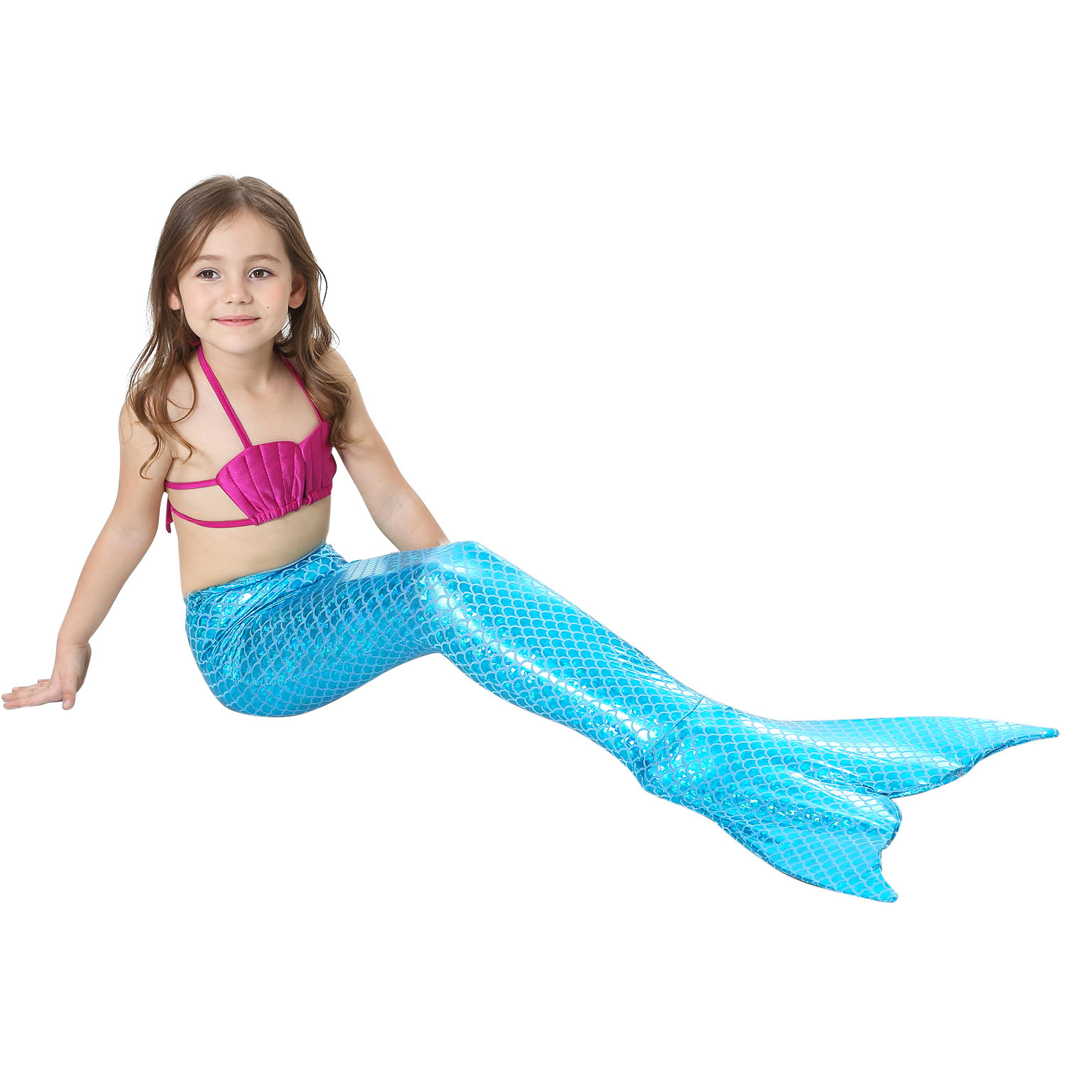 Children can carry fins mermaid mermaid swimsuit mermaid tail bathing suit clothes cos gift halloween costume for kids in Girls Costumes from Novelty Special Use