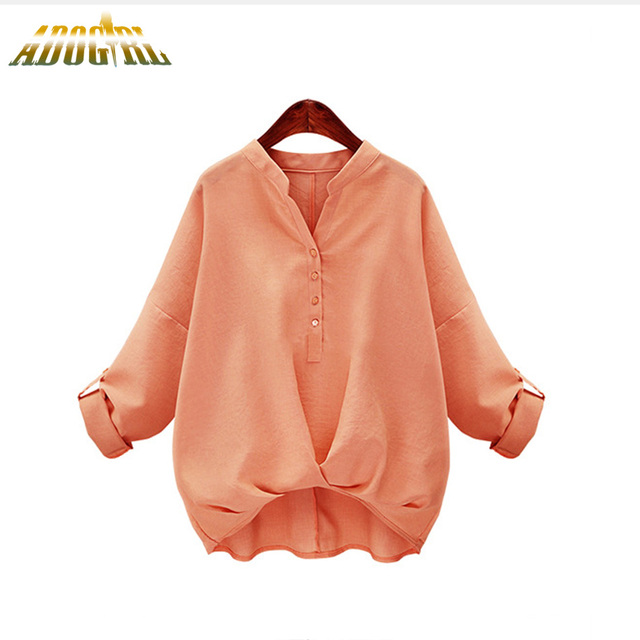 Autumn New Arrival Shirts Women Plus Size Loose Long Sleeves Cotton Blouse Stand Collar Quality Ladies Fashion Blouses Tops