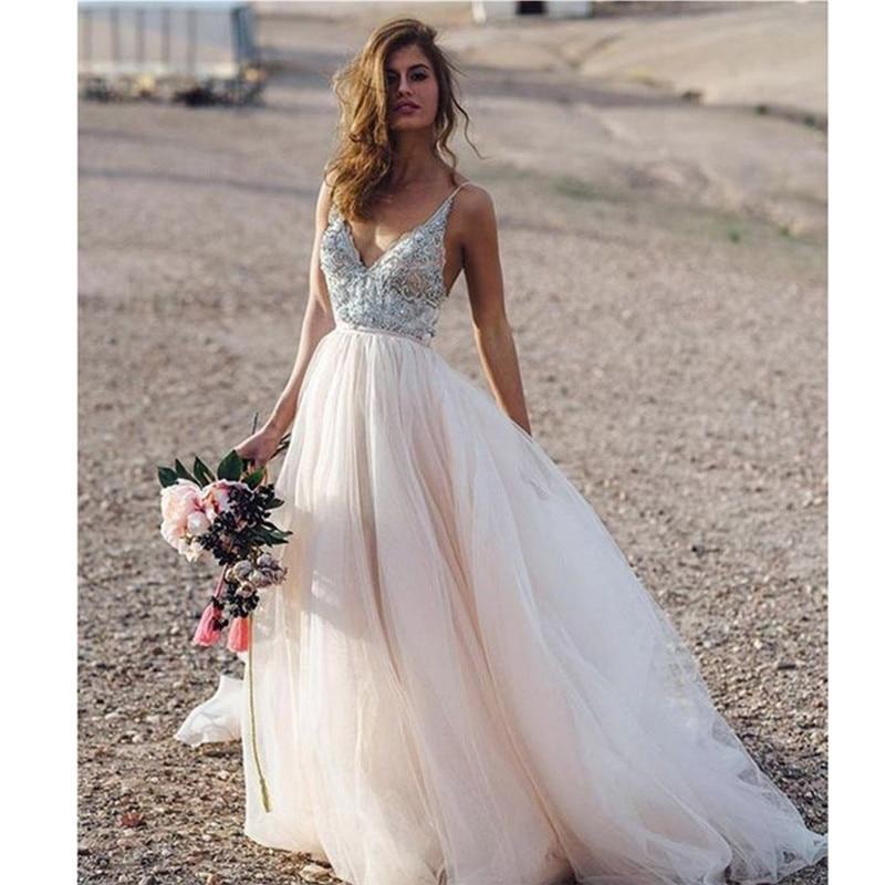 Wedding Dress Light Pink Spaghetti Straps with Flowers Appliques Sexy Bride Dress Backless Vestido De Novia