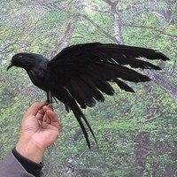 Хэллоуин реквизит перья ворона птица Большой 25x40 см расправляющиеся крылья черная игрушка ворона модель игрушки, реквизит для представлени...