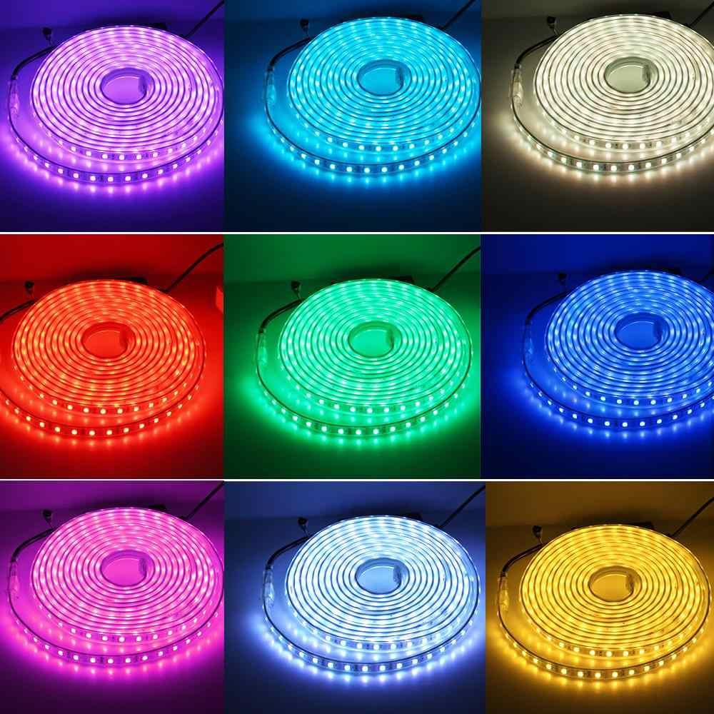 220V RGB Tira CONDUZIDA 5050 RGB Cor Mutável com Controle Remoto 24Key Uso Ao Ar Livre Impermeável Flexível LED Light Strip.