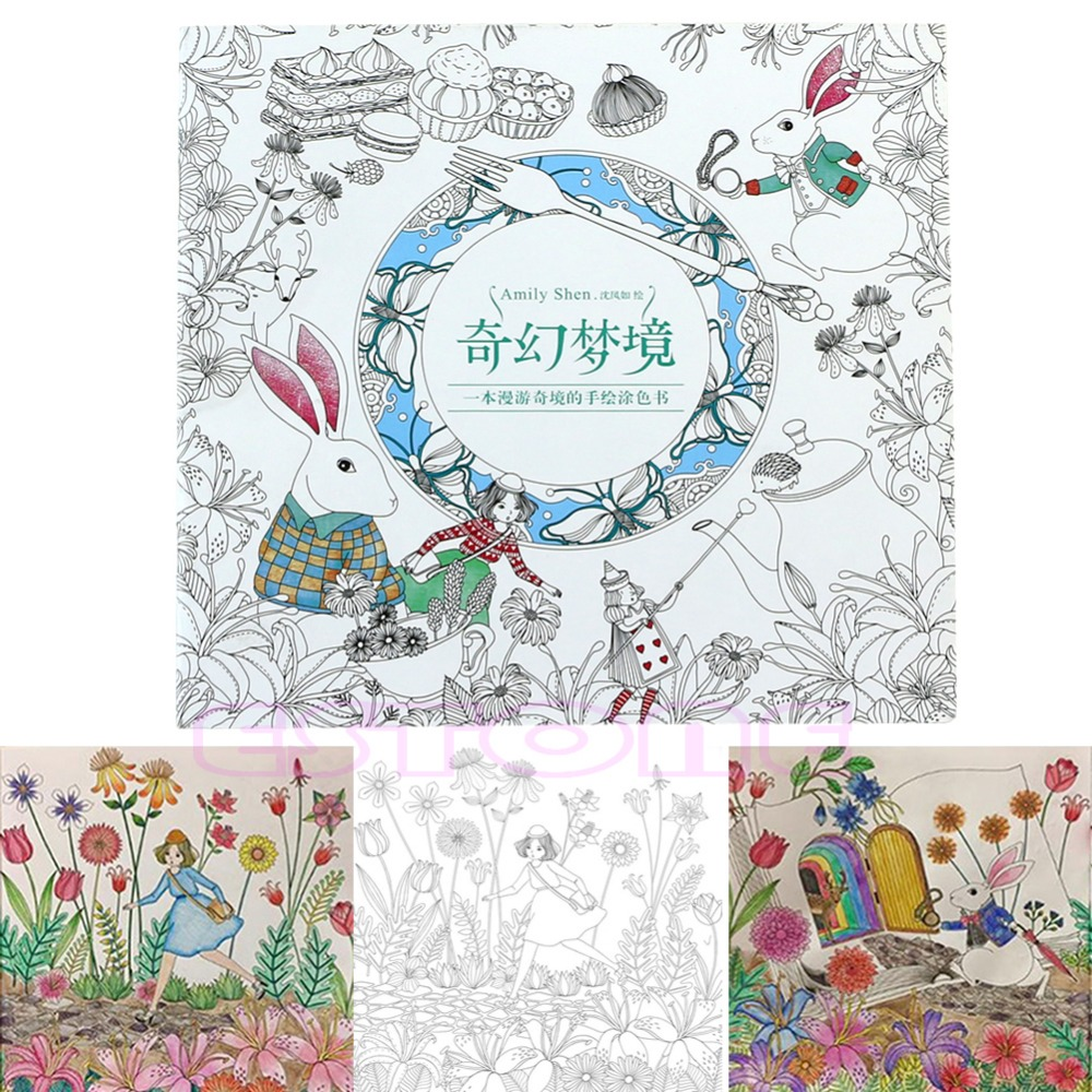 Coloring Garden English/Chinese Edition Coloring Book For Children Adult Relieve Stress Kill Time Painting Drawing Book 14 Pages