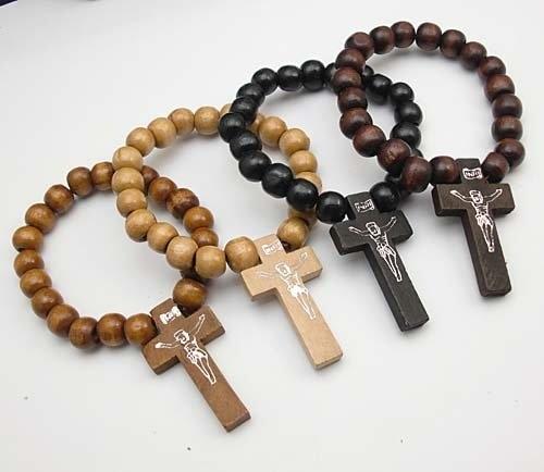 Wood Bracelet With Cross Crosses