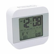 Talking Alarm Clock with 3 Alarms  Smart Light ,Snooze,7 Sounds To Choose,Week, Date, Temperature display,12/24hr Easy for Kids