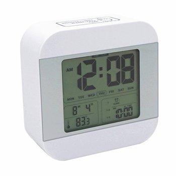スマートな光とスヌーズで目覚まし時計を話す、5つの音を選択する7つの音、5/6/7日間の3つのアラーム、週日温度、12/24時間バッテリーデジタル時計