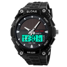 Men Sports Solar Power Dual Time Display Water Resistant Electronic Wrist Watch sports car style water resistant silicone wrist watch for children white black