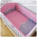 Promotion! 6PCS Bow baby crib bedclothes kids bedding cribs cot nursery bedding (bumpers+sheet+pillow cover)