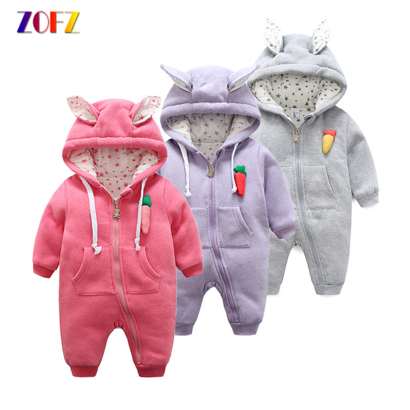 ZOFZ baby Clothes for boys 2017 Autumn And Winter Warm Soft Romper Kids Cotton Fashion animal black Clothes Baby girls clothes autumn winter baby hats new fashion children warm ball hat double color boys and girls cotton caps beanies baby knitted hat