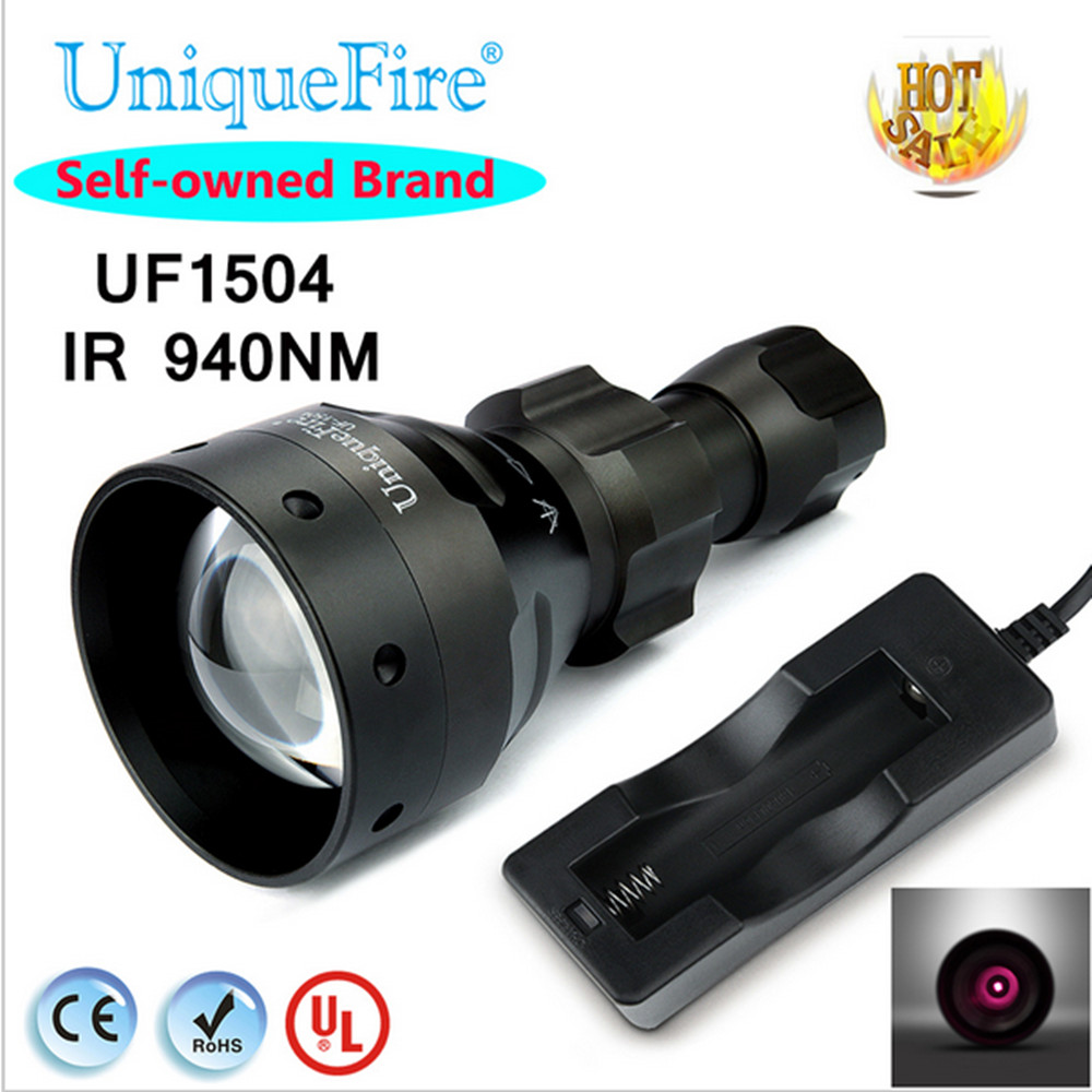 UniqueFire 1504 T67 IR 940nm Hot selling Zoomable Flashlight LED 67mm Convex Lens Light Torch+Charger For Outdoor Camping uniquefire uf 1407 mini 850 ir led zoomable flashlight 3 modes 30mm convex lens torch camping light for 1x 18650 battery