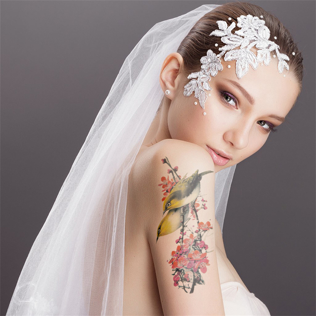 Sparrows With Plum Flower Tattoos Realistic Temporary Tattoos Waterproof Fake Arm Tattoo Stickers