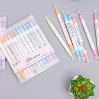 12 cores um encaixotado duplo-cabeça highlighter conjunto manual diário decoração luz cor marca nota caneta fineliner caneta papelaria