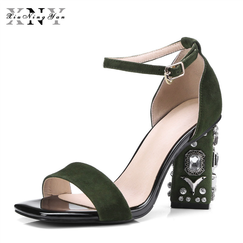 XiuNingYan Brand 2018 New Summer Women's Shoes Sandals Peep Toe High Heels Fashion Ladies Wedding Party Shoes Plus Size 34-43 zorssar brand 2017 high quality sexy summer womens sandals peep toe high heels ladies wedding party shoes plus size 34 43