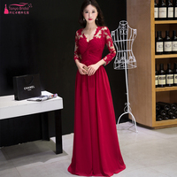 Red/Blue/Burgundy Three Quarter Sleeve Evening Dresses V Neck Lace Prom Gowns A Line Elegant Maid Of honor Gowns ZE083
