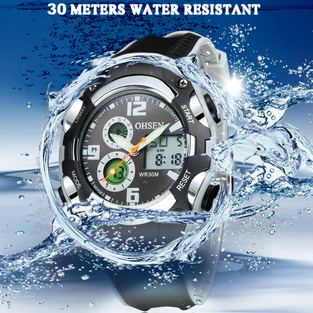 Original OHSEN Digital quartz Children Boys Sport Watches 30M Waterproof Black Rubber Band Fashion LED Swimming Wristwatch Gift