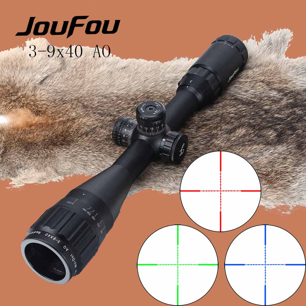 JouFou 3-9X40AO Hunting Riflescope Red Green Blue Mil-dot Wire Reticle Tactical Optical Sight with Locking Resetting Rifle Scope 4x 30mm red green mil dot reticle rifle scope with gun mount black 3 x ag13 1 x cr2032