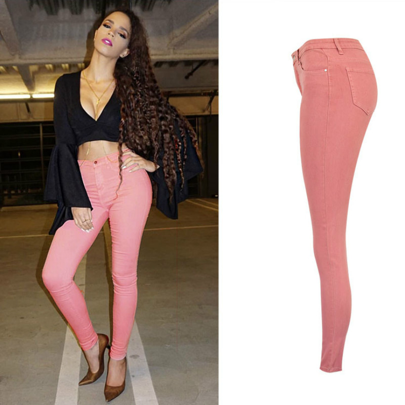 High Waist Push Up Skinny Jeans Women Europe and America Fashion Streetwear Pencil Pants Mujer Lotus Pink Color Trousers Femme-in Jeans from Women's Clothing