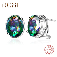 ROXI Natural Mystic Rainbow Earrings Stud For Women Girls Brincos Genuine Pure 925 Sterling Silver Earrings