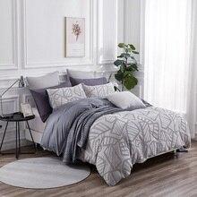 PHF Легкая вафельная пододеяльник и 2 подушки из окрашенной пряжи 100% хлопок Мягкие удобные