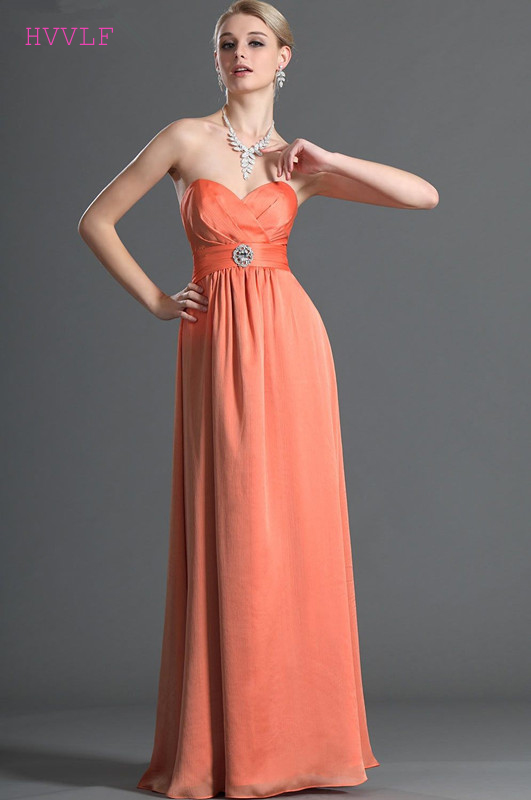 Orange 2019 Cheap   Bridesmaid     Dresses   Under 50 A-line Sweetheart Chiffon Backless Long Wedding Party   Dresses