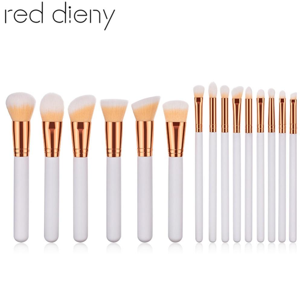 White Gold Professional Makeup Brushes Set Nylon Hair Foundation Powder Concealer Blusher Eyeshadow Brushes Cosmetic Tools Kit