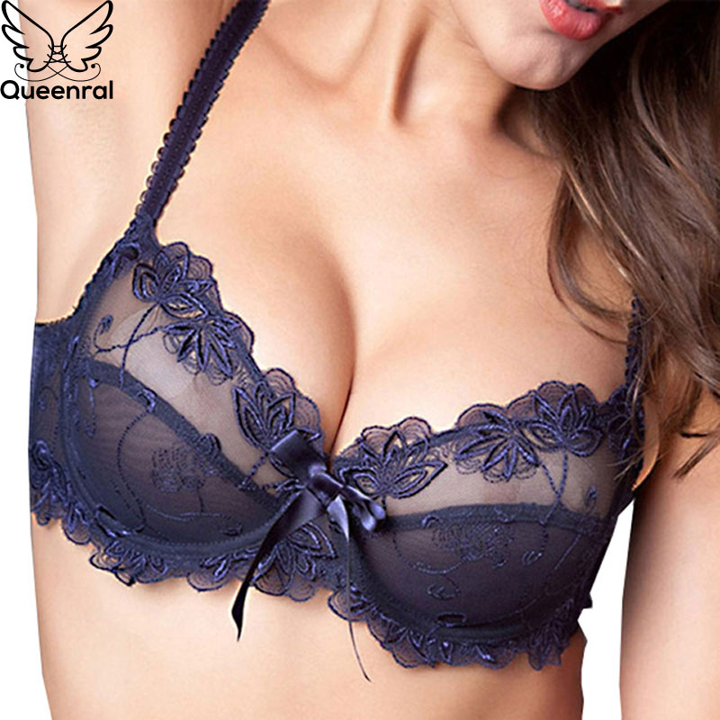 Queenral Super Ultra-Thin Lingerie   Set   For Women Underwear   Bra     Set   Transparent Lace   Bra   And Panties   Set   Women Intimates Sexy