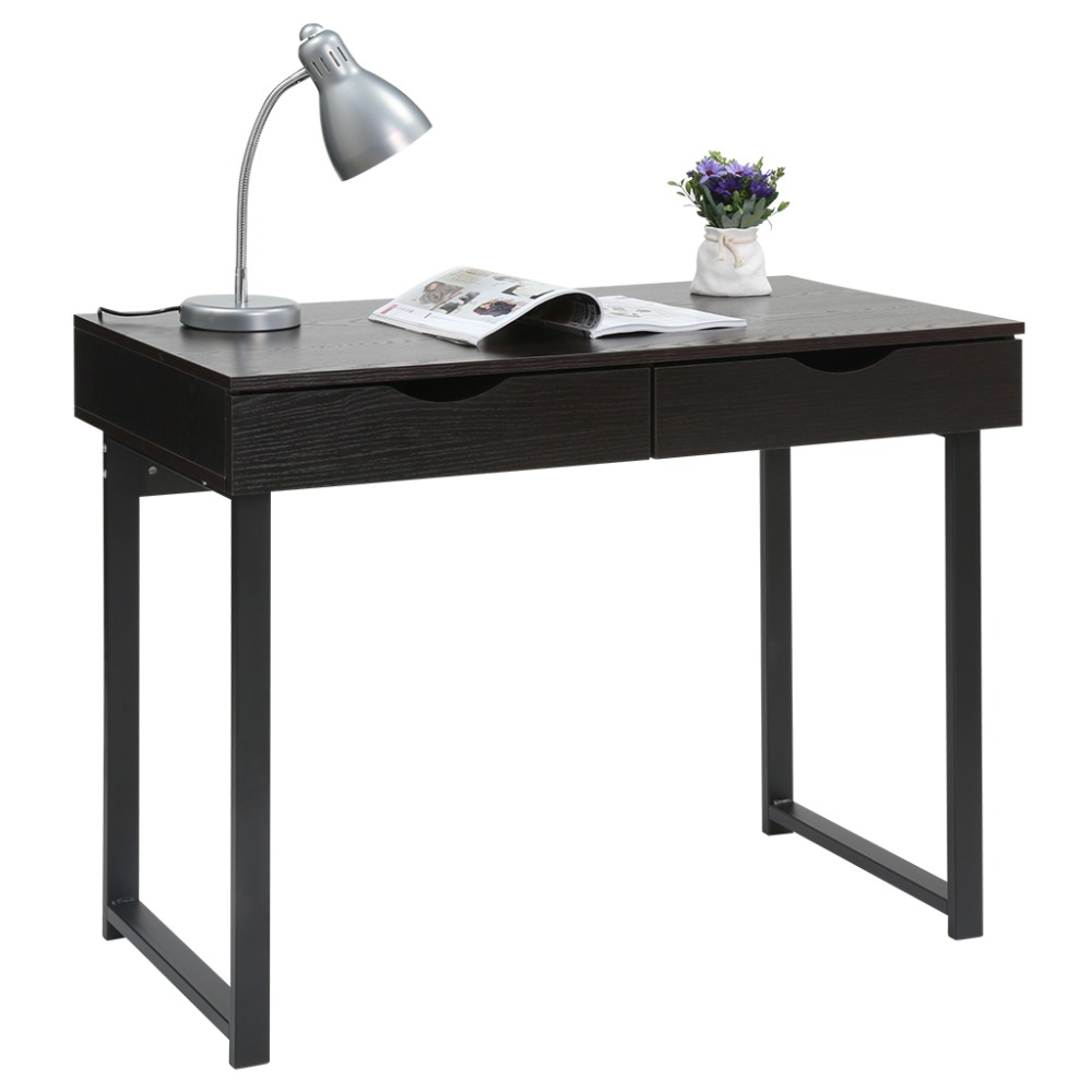 LANGRIA Minimalist Computer Desk Console Table with 2 Drawers Home ...