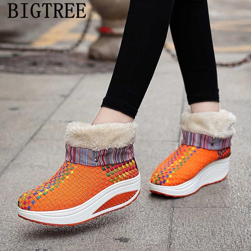 Platform kadın yarım çizmeler kışlık botlar kadın tasarımcı örgü kar botları kadın kış ayakkabı marka botines mujer 2019 botki damski