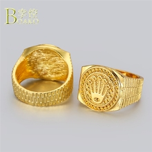 BOAKO Hip Hop Men Ring Big Wide Statement Gold Relief Crown Luxury Iced out hombre anillos party jewelry B5