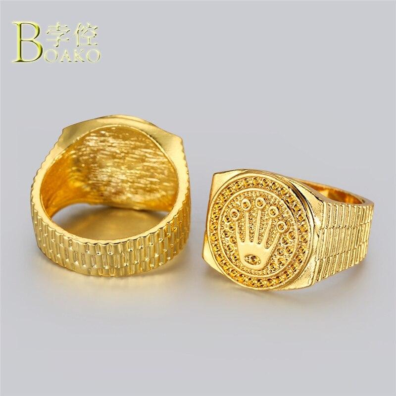 BOAKO Hip Hop hombres anillo Gran ancho Hip Hop anillo declaración oro alivio corona anillo de lujo helado hombre anillos joyería de fiesta de B5